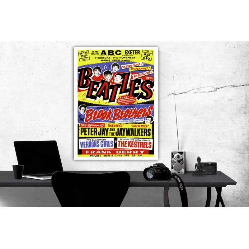 BEATLES 1963 Concert Poster Exeter Rock n Roll Vintage Poster