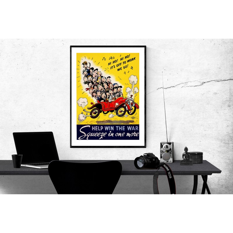 Vintage War Poster Hi Ho Its Off To Work We Go Repro Glossy Poster Help Win The War