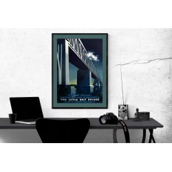 1951 Danish Railway Poster The Little Belt Bridge Vintage Denmark Railway Collection Posters