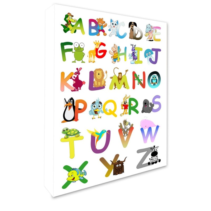 ABC Animal Alphabet Children's Bedroom Wall Hanging Picture Wall Canvas Print