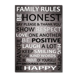 Family Rules WALL ART  Picture Family Rules Wall Canvas Prints