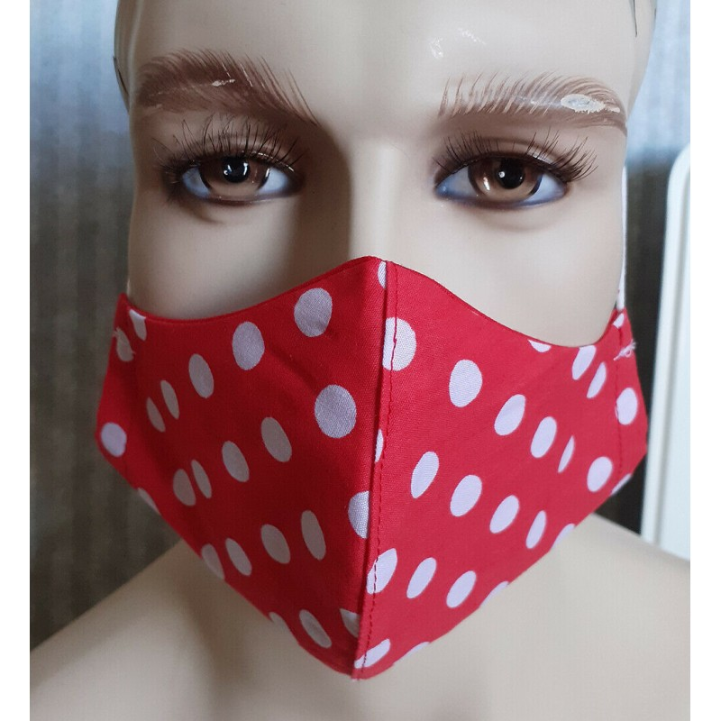 UK Fitted Face Masks -  Adults Red Face Masks 100% cotton double layers Washable & Reusable - Made in The UK