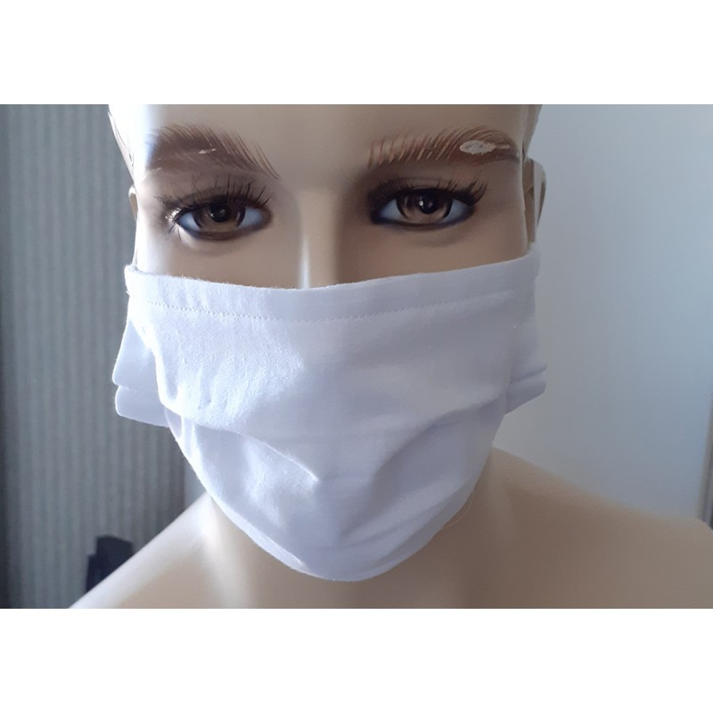 UK Face Masks - Adults White Face Masks 100% cotton double layers Washable & Reusable - Made in The UK