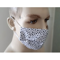 UK Fitted Face Masks Adults White/Blue Face Masks 100% cotton double layers Washable & Reusable - Made in The UK