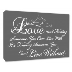 Love isnt finding someone You Can Live With, its finding someone you cant live without