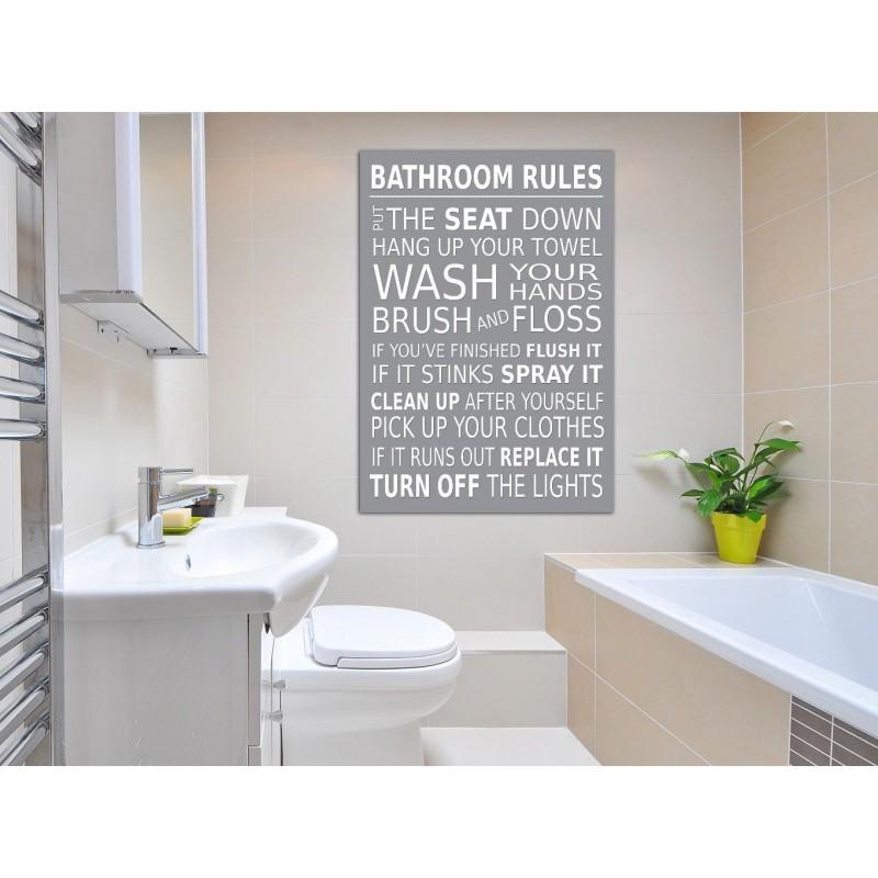 Grey Wall Plaque Canvas Prints Pack, Bathroom Rules Plaque